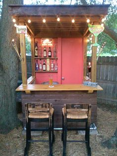 Bring the bar to your backyard with a colorful bar shed!