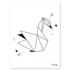 poster geometric swan