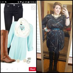 #ChubbyChique 11-24-2015 #ootd #novemberpinneditspinnedit Black, sky blue, white and tan inspiration