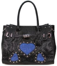 Womens Designer Style Black Heart Diamante Padlock Handbag