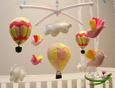 With MUSICAL CRIB ATTACHMENT. Pink and yellow hot air balloons and birds girls musical rotating nursery mobile. Ready to ship. BabyBeansNZ by BabyBeansNZ on Etsy