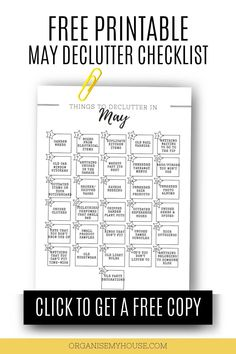 Love this simple decluttering list of things to purge from your home and life in May - and the free printable checklist makes things so easy to follow. This declutter will be great, and I can't wait to get started Organisation Hacks, Organization, Home Management Binder, Clutter Free Home, Household Chores, Declutter Your Home, Feeling Overwhelmed, Organising, Decluttering
