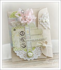 Gorgeous Shabby Card...created using the Simple Stories Baby Steps collection.
