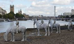 Jason deCaires Taylor's four horsemen of the apocalypse, close to Houses of Parliament, are political comment on impact of fossil fuels