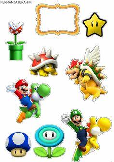 Bolo Super Mario, Super Mario Party, Super Mario Bros, Mario Birthday Party, Diy Birthday, Birthday Parties, Mario Crafts, Mario And Luigi, Printable Planner Stickers