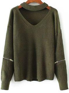 ZAFUL Fashion Women Knitted Choker Sweater V Neck Drop Shoulder Zipper Full Sleeve Pullover Sweaters Loose Knitwear Tops Pull Loose Knit Sweaters, Pullover Sweaters, Sweaters Knitted, Sweater Cardigan, Sweater Fashion, Sweater Outfits, Look Fashion, Fashion Clothes, Fashion Dresses