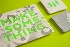 We designed and letterpress printed a promotional giveaway along with a few business cards. Printed in fluorescent green and a double hit of silver on Beer Matt Board 390gsm, the postcard gives a call out to create. Several shapes are die-cut out and can …