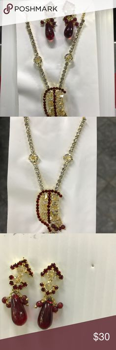 New Jewelry Brand new necklace with pair of earrings red and white shining stone very attractive in both of them Jewelry Necklaces