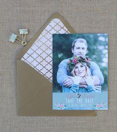 Boho save the date card with metallic gold envelope #boho #floral #colorful #gold #envelopeliner #mint #wedding #custom #design #graphicdesign #savethedate #savethedatecard #engagementphotos #engaged