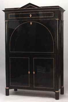 Biedermeier German Austrian cabinet/case-piece secretary eboniz