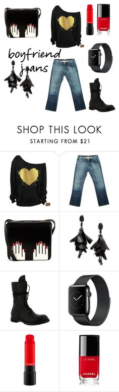 """""""Le rouge a levres"""" by jeezel ❤ liked on Polyvore featuring 7 For All Mankind, Lulu Guinness, Oscar de la Renta, Rick Owens and Chanel"""