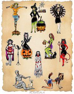 Pin up halloween flash tattoo ideas Halloween Pin Up, Halloween Horror, Vintage Halloween, Halloween Tattoo Flash, Cute Halloween Tattoos, Spooky Tattoos, Halloween Prints, Tattoos Skull, Pin Up Tattoos