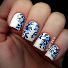 #nail #design Blue floral nail art