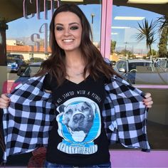 """Penny Lane on the town with Sacha! Take a little bit of Ipittythebull with you wherever you go by ordering a shirt of your own at www.ipittythebull.com. Pictured is a """"Beginnings"""" Women's V Neck T-shirt  because """"it all started with a Pit Bull"""""""