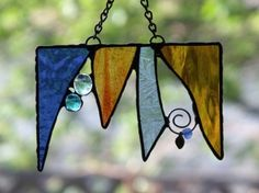 Stained Glass Art Suncatcher  Valance by newmoonglass on Etsy, $35.00