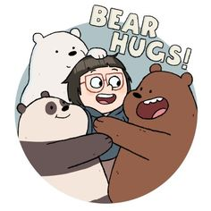 NEW tv show ICE We Bare Bears HUGS Tshirt Personalize birthday gift Tee Custom