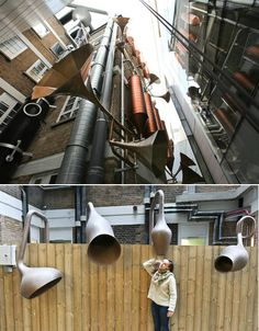Lullaby Factory: Faciful Installation for Children's Hospital. Created by Studio Weave for London's Great Ormond Street Hospital. Adding onto the already existent copper pipes to fill a narrow, otherwise unusable space.