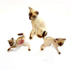 Vintage Siamese Cat Figurines Ceramic by VintagePennyLane on Etsy
