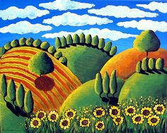 Colorful Whimsical Sunflowers Green Gold Tuscan Landscape Folk Art Painting Original renie