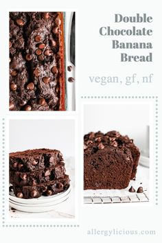 Double Chocolate Banana Bread is moist and tender and packed with vegan chocolate chips for an extra dose of chocolatey goodness. Vegan + Gluten free option #bananabread #chocolatebread #veganbread #chocolatebanana #glutenfreedessert Best Vegan Desserts, Vegan Dessert Recipes, Gluten Free Desserts, Vegan Gluten Free, Chocolate Banana Bread, Vegan Chocolate, Vegan Bread, Vegan Baking, Food