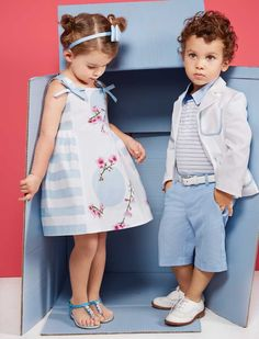 Simonetta occassion kids fashion with Simonetta cherry blossom summer dress and boy costume in silver light blue