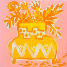 lemon tangerine florals leslie weaver art painting