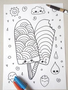 kawaii coloring popsicle ice cream kids adult instant download