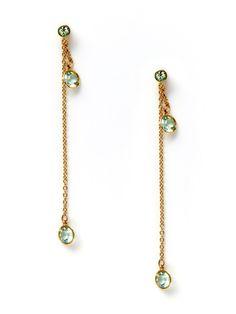 Swarovski Jewelry  Green Crystal Chain Drop Earrings
