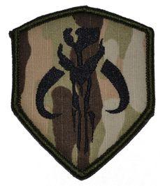Patch - Mandalorian Bantha Skull Mercenary 3x2.5 Shield Patch with Velcro - Multicam