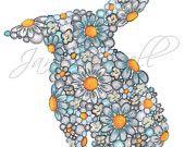 Children's Art Print 8 x 10 Blues Bunny Silhouette Nursery Art Child's Room Children Girls art
