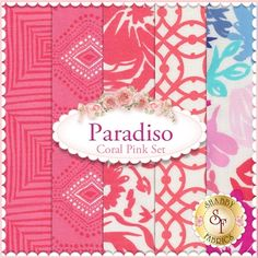 """Paradiso 5 FQ Set - Coral Pink Set by Kate Spain for Moda Fabrics: Paradiso is a collection by Kate Spain for Moda Fabrics. 100% Cotton. This set contains 5 fat quarters, each measuring approximately 18""""x21"""""""