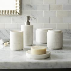 Graydon Marble Bath Accessories from Crate & Barrel are made in India. Prices start at $12.95 for the Graydon Marble Soap Dish.