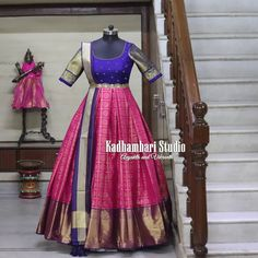 This out fit is Available at 7800 from house of Kadhambari. They can customize the colour and size as per your requirement. They have international shipping service too. For Orders Enquiry Reach on WhatsApp 880187647 . Half Saree Designs, Pattu Saree Blouse Designs, Fancy Blouse Designs, Dress Designs, Party Wear Indian Dresses, Indian Gowns Dresses, Dress Indian Style, Long Gown Dress, Lehnga Dress