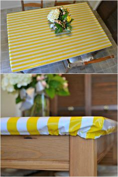 This is a simple DIY tutorial for a wipeable tablecloth that doesn't move and can't be pulled off by little hands. It stays on with elastic and the best part is it's waterproof so spills can be cleaned with a wipe!