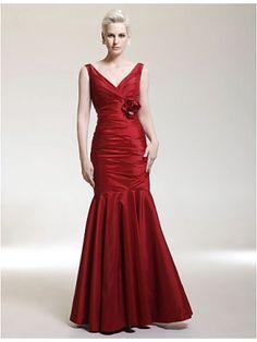 Fashion Trumpet V-neck Floor-Length Taffeta Mother of the Bride Dress MOB0207-LT