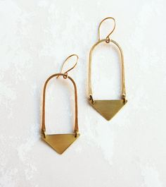 Brass Hoop and Triangle Earring by rock salt vintage http://craftysupermarket.wordpress.com/2013-holiday-crafters/