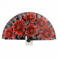 Abanico diseño de flores rojas