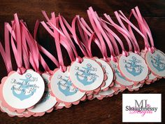 These custom circle scallop #anchor favor tags are so adorable and add whimsical flair to any nautical-themed event!