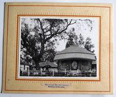 India 1970s Vintage Photo Shreedhaam Tample With Tree  mounted on cardbord #p18