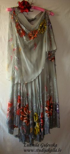 Dress.Natural silk dress handmade artwork silk painting