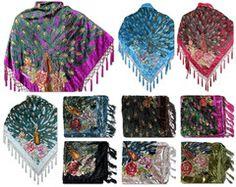 Burnout Velvet Beaded Peacock Fashion Scarf Shawl