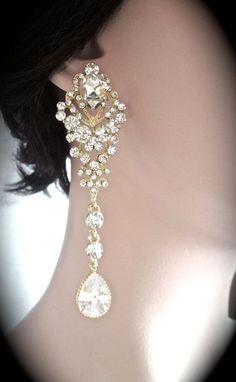 Bridal Rhinestone Earrings, Swarovski AB Crystal Earrings ...