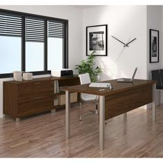 Add a computer and a comfy chair and your office area is complete thanks to the Bestar Pro-Linea Executive Desk Set . Both a minimalist desk and a storage. Office Furniture Stores, Business Furniture, Furniture Deals, Office Suite, Office Desk, Modern Executive Desk, Modern Desk, Minimalist Desk, Contemporary Desk