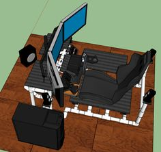 Click this image to show the full-size version. Click this image to show the full-size version. Gaming Table Diy, Gaming Room Setup, Flight Simulator Cockpit, Racing Simulator, Ergonomic Computer Workstation, Bartop Arcade Plans, Home Recording Studio Setup, Hobby Desk, Hobby Room