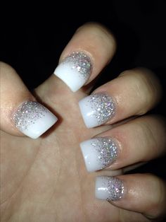 white and silver solar nails #solarnails