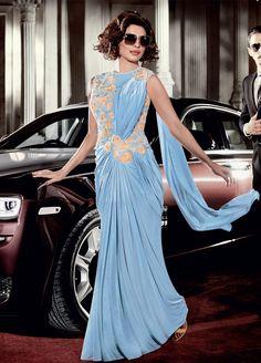 Buy Priyanka Chopra Peach Georgette Gown in USA,UK and Canada online from kollybollyethnics.com
