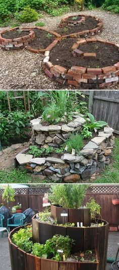 The spiral garden gives a plan to grow food in a very small space. There is almost no big budget in a spiral garden. Stones, bricks, plates and even glass bottles can all be used for construction.