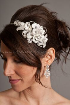 Wedding Headband, Lace Headband, Porcelain Flowers, Rhinestones, Bridal Headband