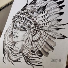 Nativeamerican girl tattooart by Family Ink