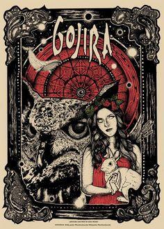 GOJIRA MAGMA TOUR EUROPE 2017 limited screen printed poster Heavy Metal Rock, Heavy Metal Music, Heavy Metal Bands, Rock Posters, Band Posters, Concert Posters, Music Posters, Gojira Band, Tattoo Musik